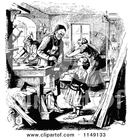 Retro Vintage Black and White Girl Helping in the Carpenters Workshop Posters, Art Prints