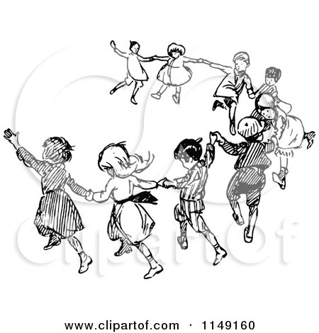 Clipart of Retro Vintage Black and White Dancing Children ...