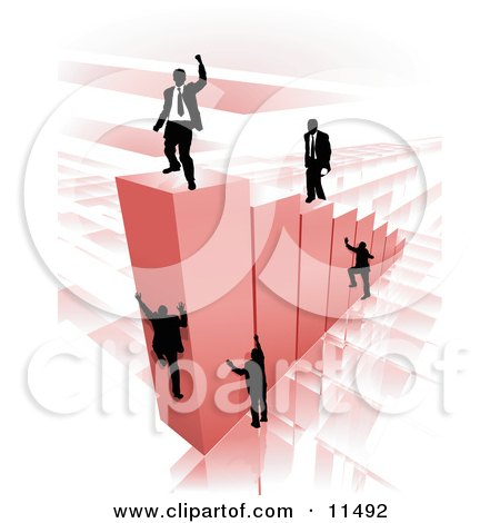 Businessmen Climbing Red Bars to Reach the Top Where a Proud Business Man Stands Clipart Illustration by AtStockIllustration