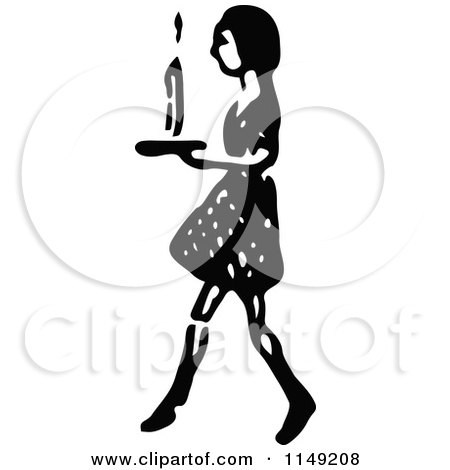 Clipart of a Retro Vintage Black and White Girl Walking with a Candle - Royalty Free Vector Illustration by Prawny Vintage