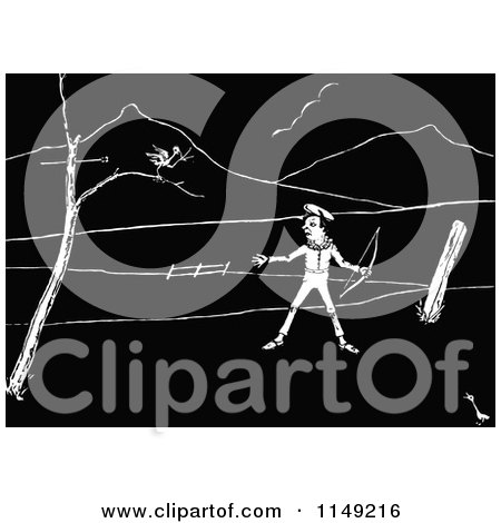 Clipart of a Retro Vintage Black and White Boy Shooting at a Sparrow - Royalty Free Vector Illustration by Prawny Vintage