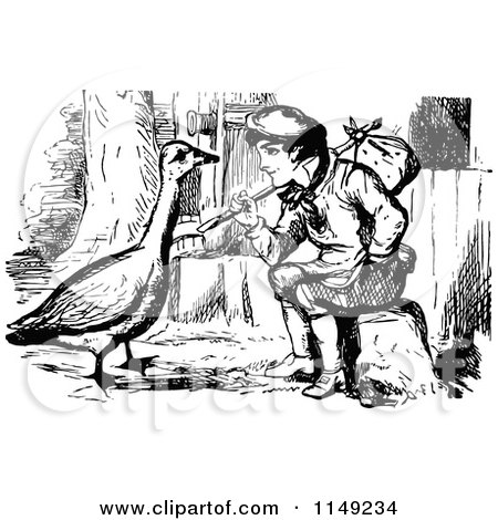 Clipart of a Retro Vintage Black and White Vagrant Boy and Goose - Royalty Free Vector Illustration by Prawny Vintage