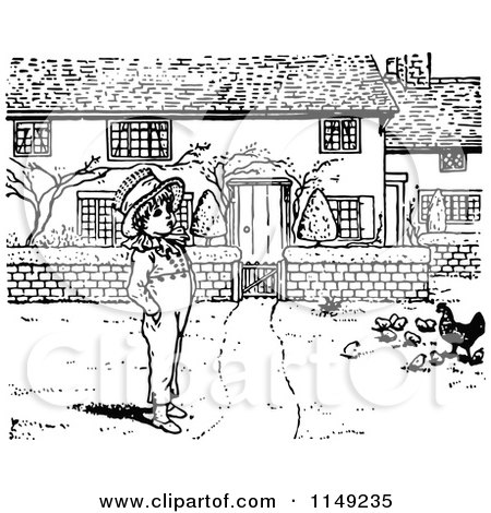 Clipart of a Retro Vintage Black and White Boy and Chickens in a Yard - Royalty Free Vector Illustration by Prawny Vintage