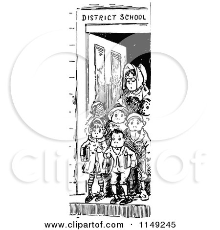 Clipart of a Retro Vintage Black and White Teacher and Children in a School Door - Royalty Free Vector Illustration by Prawny Vintage