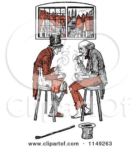 Clipart of a Retro Vintage Poor Men Eating in Orange Tones - Royalty Free Vector Illustration by Prawny Vintage