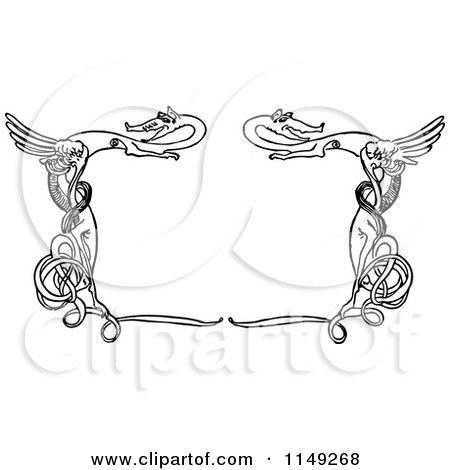 Clipart of a Retro Vintage Black and White Frame of Swirly Dragons - Royalty Free Vector Illustration by Prawny Vintage