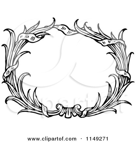 Clipart of a Retro Vintage Black and White Oval Reed Frame - Royalty Free Vector Illustration by Prawny Vintage