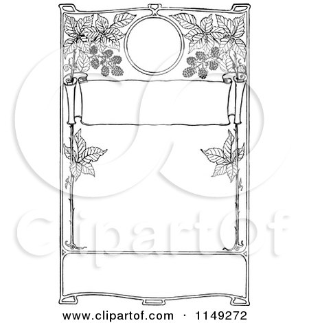 Clipart of a Retro Vintage Black and White Frame of Blackberries - Royalty Free Vector Illustration by Prawny Vintage