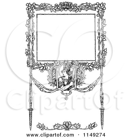 Clipart of a Retro Vintage Black and White Ornate Warrior Border - Royalty Free Vector Illustration by Prawny Vintage
