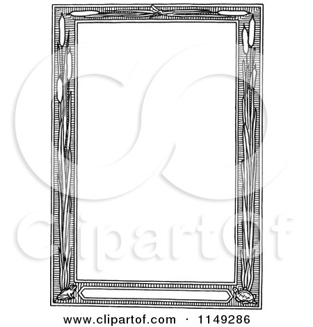 Clipart of a Retro Vintage Black and White Cattail Frame - Royalty Free Vector Illustration by Prawny Vintage