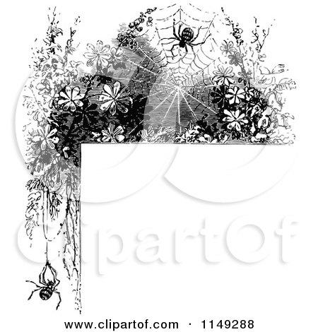 Clipart of a Retro Vintage Black and White Spider Web Corner Border - Royalty Free Vector Illustration by Prawny Vintage