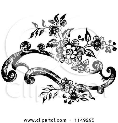 Clipart of a Retro Vintage Black and White Floral Banner Design - Royalty Free Vector Illustration by Prawny Vintage