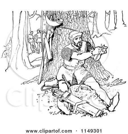 Clipart of a Retro Vintage Black and White Man Repairing an Arrow in the Forest - Royalty Free Vector Illustration by Prawny Vintage