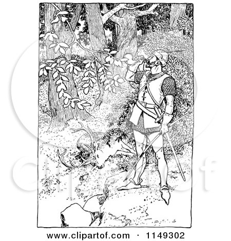 Clipart of a Retro Vintage Black and White Forest Man Drinking by a Hunted Deer - Royalty Free Vector Illustration by Prawny Vintage