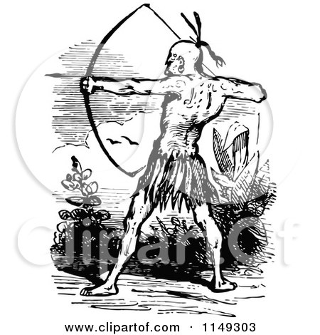 Clipart of a Retro Vintage Black and White Native American Archer - Royalty Free Vector Illustration by Prawny Vintage