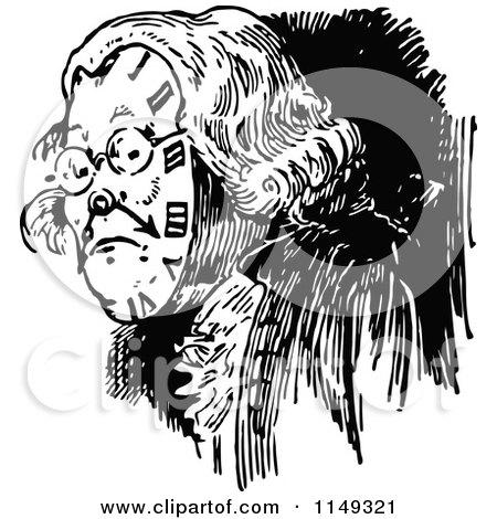 Retro Vintage Black and White Old Clock Man Posters, Art Prints