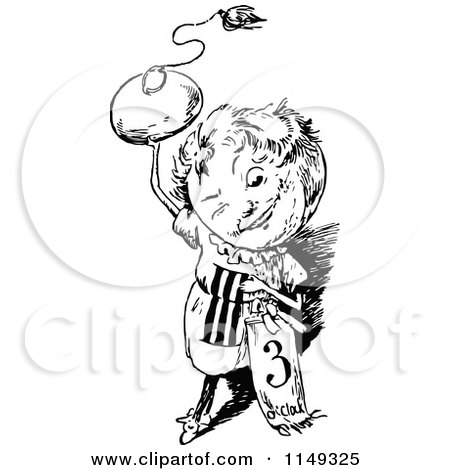 Clipart Of A Retro Vintage Black And White 3 O Clock Person