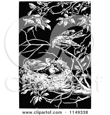 Clipart of a Retro Vintage Black and White Bird over Its Chicks in a Nest - Royalty Free Vector Illustration by Prawny Vintage