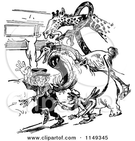 Clipart of a Retro Vintage Black and White Circus Conductor and Angry Animals - Royalty Free Vector Illustration by Prawny Vintage
