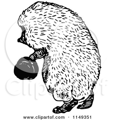 Clipart Of A Retro Vintage Black And White Hedgehog Holding A Hat