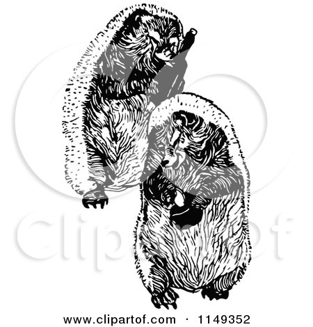 Clipart of Retro Vintage Black and White Hedgehogwith Wine and a Hat - Royalty Free Vector Illustration by Prawny Vintage