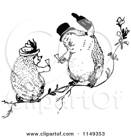 Clipart of Retro Vintage Black and White Hedgehogs Toasting with Wine - Royalty Free Vector Illustration by Prawny Vintage