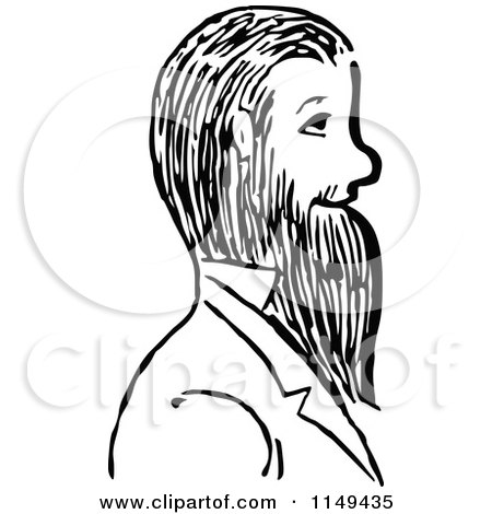 Clipart of a Retro Vintage Black and White Man with a Beard - Royalty Free Vector Illustration by Prawny Vintage