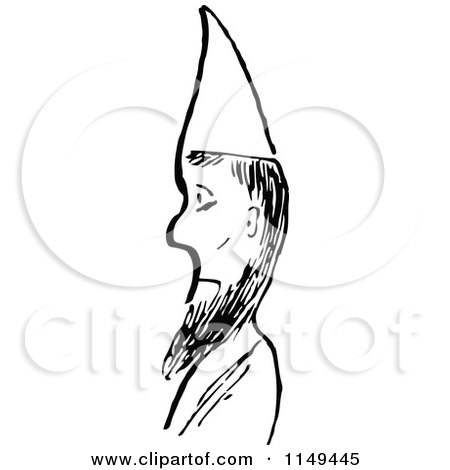 Clipart of a Retro Vintage Black and White Man with a Beard and Cone Hat - Royalty Free Vector Illustration by Prawny Vintage