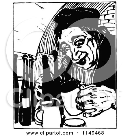 Clipart of a Retro Vintage Black and White Man Drinking - Royalty Free Vector Illustration by Prawny Vintage