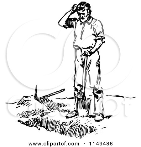 Clipart of a Retro Vintage Black and White Man Digging a ...