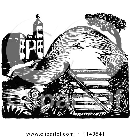 Clipart of a Retro Vintage Black and White Gate Burm and House - Royalty Free Vector Illustration by Prawny Vintage