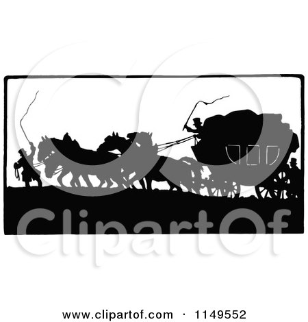 Clipart of a Retro Vintage Black and White Silhouetted Horse Drawn Carriage| Royalty Free Vector Illustration by Prawny Vintage