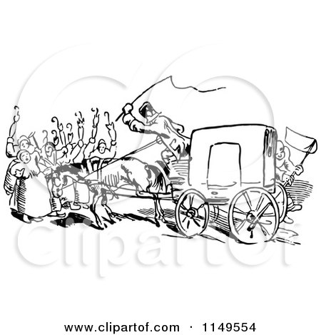 Clipart Of A Retro Vintage Black And White Rear View Of A Carriage