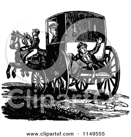 Clipart of a Retro Vintage Black and White Footman and Horse Drawn Carriage - Royalty Free Vector Illustration by Prawny Vintage