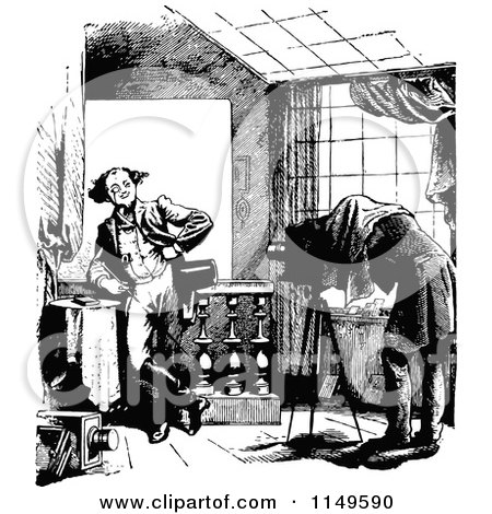 Preview Clipart Retro Vintage Black And White Man Having Portraits Taken Cartoon Of A Camera