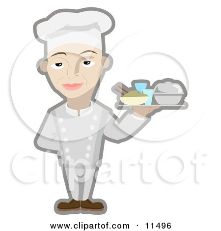 Male Chef Serving a Platter of Food Clipart Illustration by AtStockIllustration