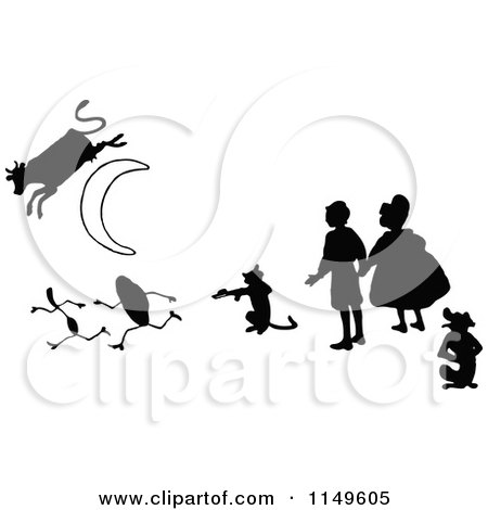Clipart of Retro Vintage Black and White Kids with a Cat Fiddle Silver Spoon and Cow Jumping over the Moon - Royalty Free Vector Illustration by Prawny Vintage