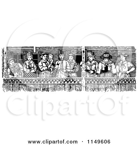 Clipart of Retro Vintage Black and White Spectators on a Balcony - Royalty Free Vector Illustration by Prawny Vintage