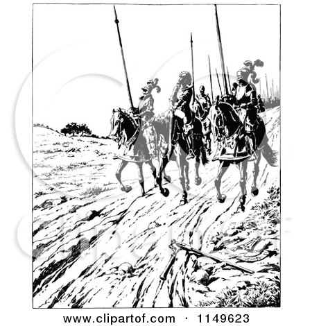 Clipart of Retro Vintage Black and White Knights Riding on Horseback - Royalty Free Vector Illustration by Prawny Vintage