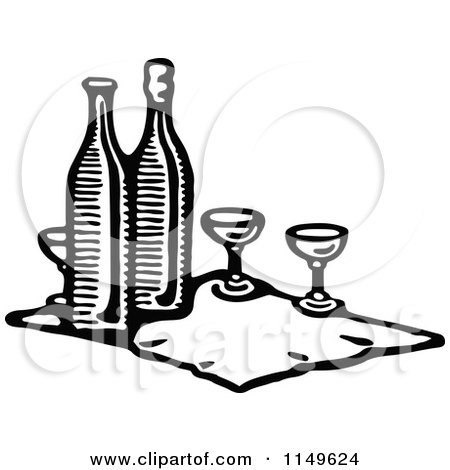 Clipart of a Retro Vintage Black and White Cloth with Wine Bottles and Glasses - Royalty Free Vector Illustration by Prawny Vintage