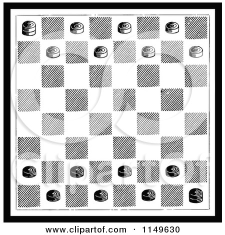 retro vintage black and white checkers game board posters art