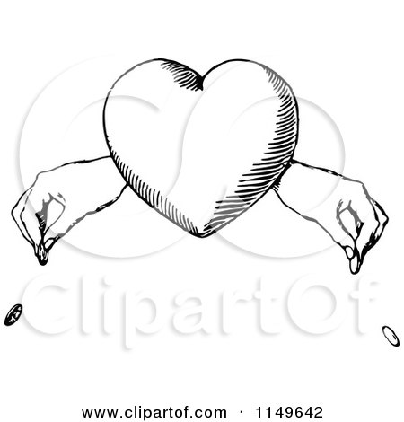 Clipart of a Retro Vintage Black and White Heart and Hands Dropping Coins - Royalty Free Vector Illustration by Prawny Vintage