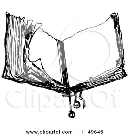 Clipart Of A Retro Vintage Black And White Old Open Book