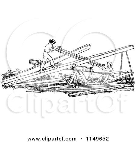 Clipart of Retro Vintage Black and White Men Sawing Wood - Royalty Free Vector Illustration by Prawny Vintage