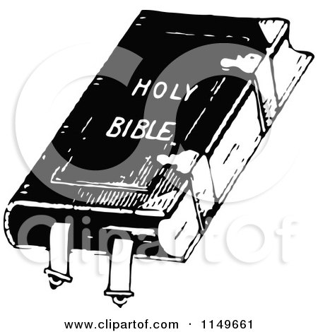 Clipart of a Retro Vintage Black and White Holy Bible - Royalty Free Vector Illustration by Prawny Vintage
