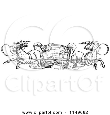 Clipart of a Retro Vintage Black and White Barrel and Horses - Royalty Free Vector Illustration by Prawny Vintage