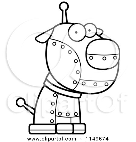 cartoon clipart of a black and white metal robotic dog vector outlined coloring page by cory. Black Bedroom Furniture Sets. Home Design Ideas