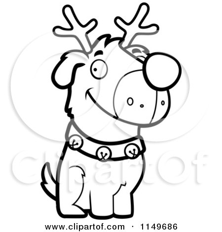 Cartoon Clipart Of A Black And White Reindeer Dog Sitting - Vector Outlined Coloring Page by Cory Thoman
