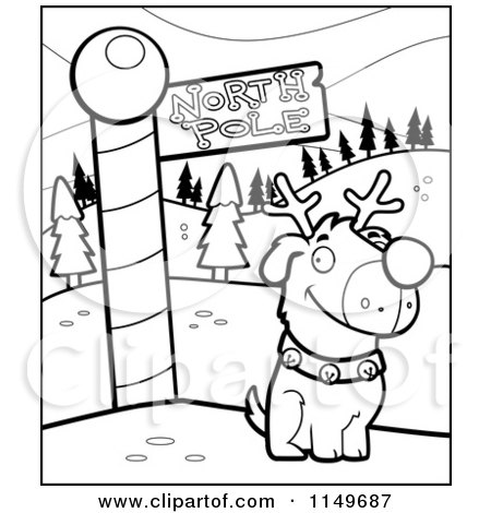 Cartoon Clipart Of A Black And White Rudolph Dog by a North Pole Sign - Vector Outlined Coloring Page by Cory Thoman