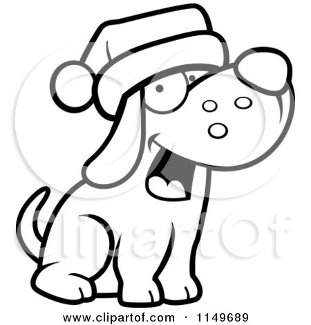 Cartoon Clipart Of A Black And White Dog Wearing a Santa Hat - Vector Outlined Coloring Page by Cory Thoman